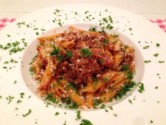 Pasta tomaat en gehakt