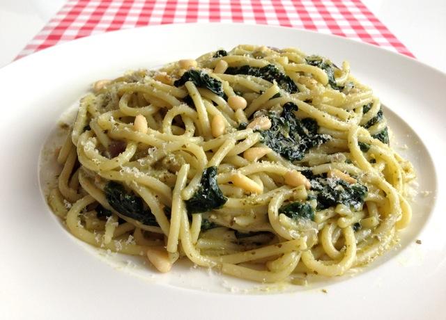 Spaghetti spinazie