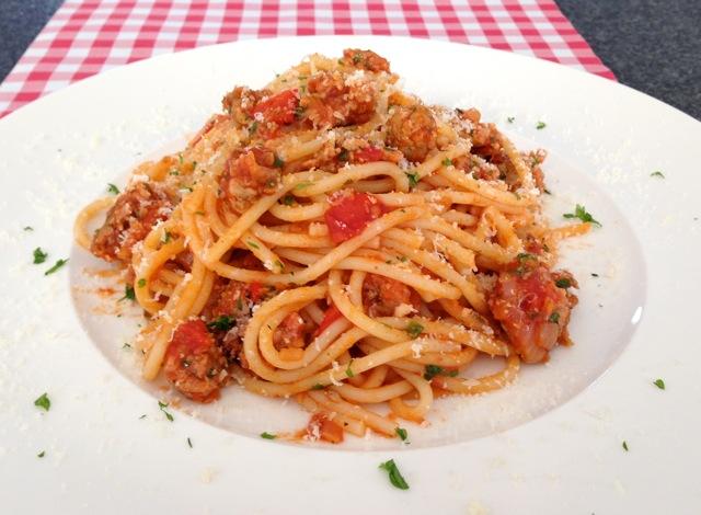Spaghetti met worst