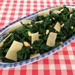 Spinazie met knoflook en kaas