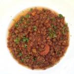 Linzen met pancetta en salami