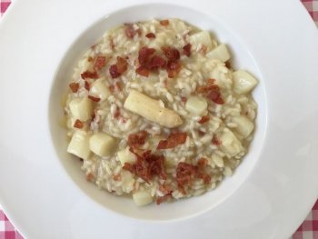 Risotto met witte asperges en pancetta
