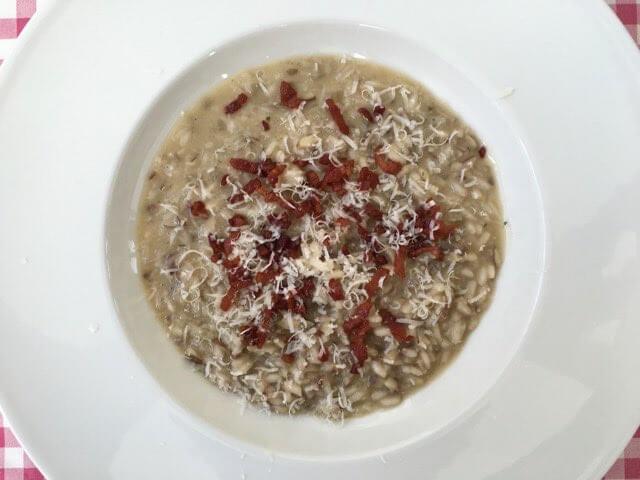 Champginon risotto met spekjes