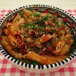 Pasta tomatensaus en gehakt