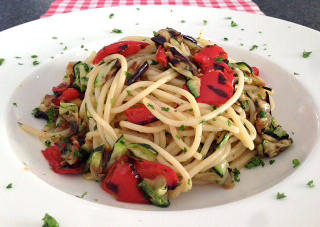 Spaghetti met gegrilde groente