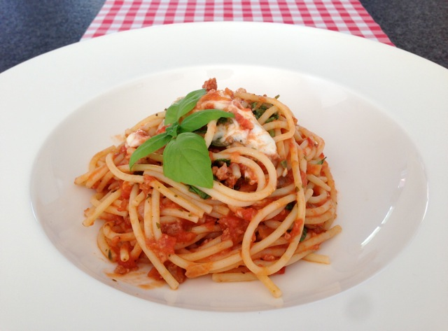 Spaghetti met mozzarella
