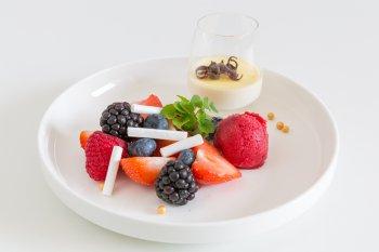 Panna cotta met vers fruit